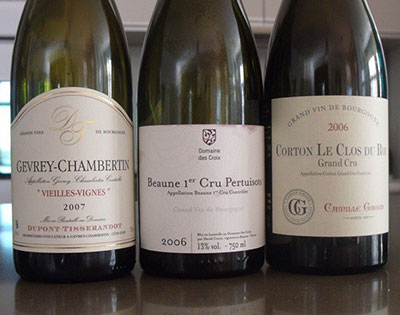 The selection of Red Burgundies